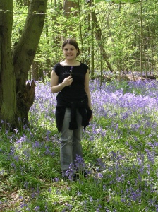Frolicking in the bluebells, April 2004