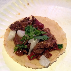 Traditional lengua taco with amazing corn tortilla made with duck fat and beer