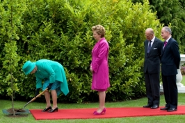 The Queen planting a tree in Ireland.