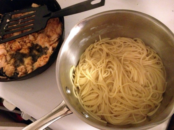 Salmon and spaghetti