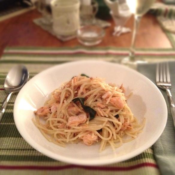 Pan-Fried Salmon and Sage Spaghetti