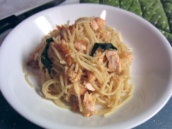 Pan-Fried Salmon and Sage Spaghetti