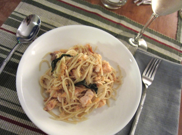 Pan-fried Salmon with Sage Spaghetti